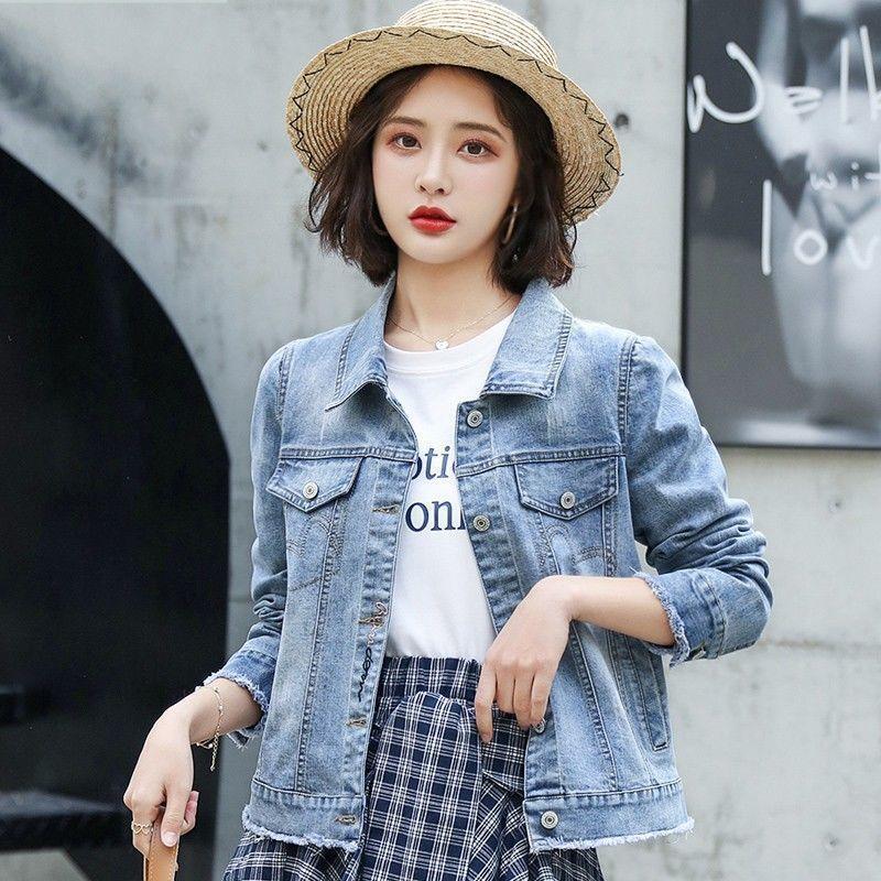 Kurzer Denimjacke Moderne Frauen 2021 Frühling und Herbst Neue Koreanische Slim Net Red Stickerei Top