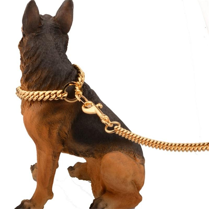 Metal Stainless Steel Pet Dog Gold Collar Lead Super Outdoor Big Dog Training Chain Collar Decor Necklace For All Dogs 10E 668 V2
