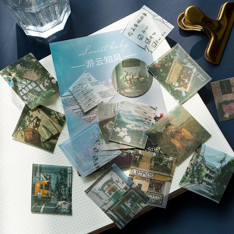 100 adet / torba Vintage Kelebek Bitki Ins Stil Sticker Ambalaj DIY Günlüğü Dergisi Dekorasyon Scrapbooking Hediye Paketi