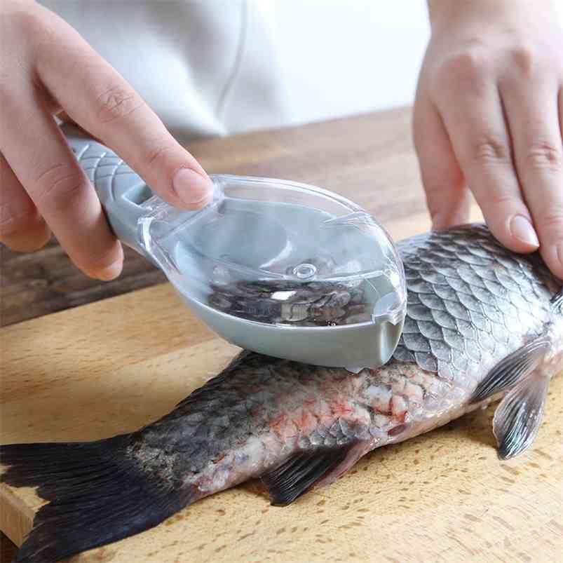Рыба кожа щеткой Щетки со сливанию шкалы Fast Remove Удалить нож чистящий пищер Scaler скребок кухонные варить инструменты 210423