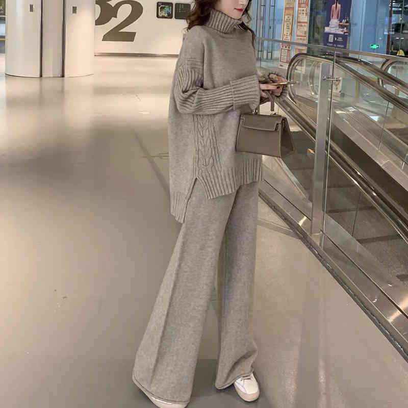 Pullover Set Frauen Winter gestrickte Anzüge 2 Stück Soild Turtscheck + Lose Hosen Büro Lady Anzug Warme Pullover 210427
