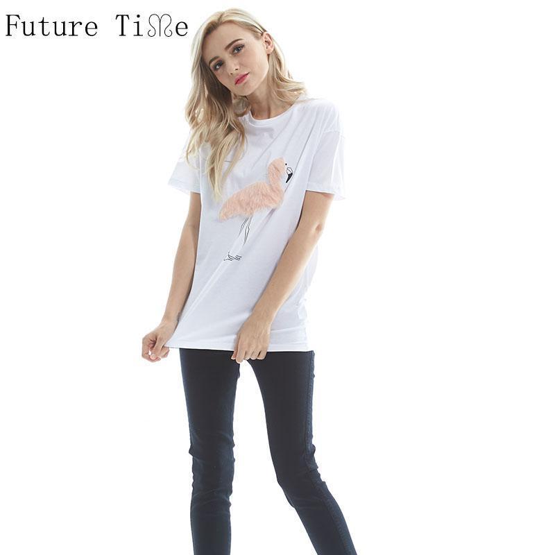 T-Shirt für Frauen Zukünftige Zeit 2021 Frauen Sommer 3D Flamingo Hemden Casual Oansatz Feste Basishemd Weibliche Patch Baumwolle Lose Top SC099