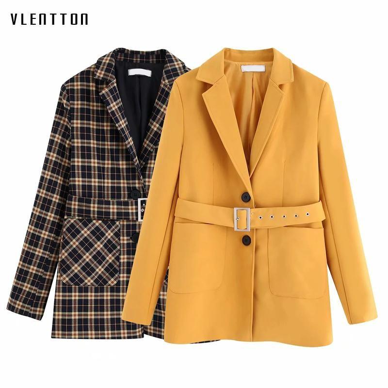 Autumn Winter Vintage Plaid Elegant Office Blazers And Jackets Women Suit Coat Outwear Tops Female Chic Sashes Blazer Feminino Women's Suits
