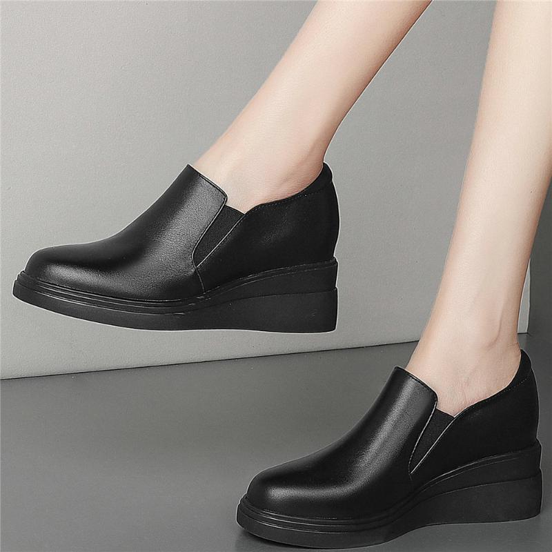 Zapatillas de deporte de moda Mujeres de cuero genuino Cuñas de tacón alto zapatos zapatos para mujer baja top de punta de punta de punta de punta botines vestido casual