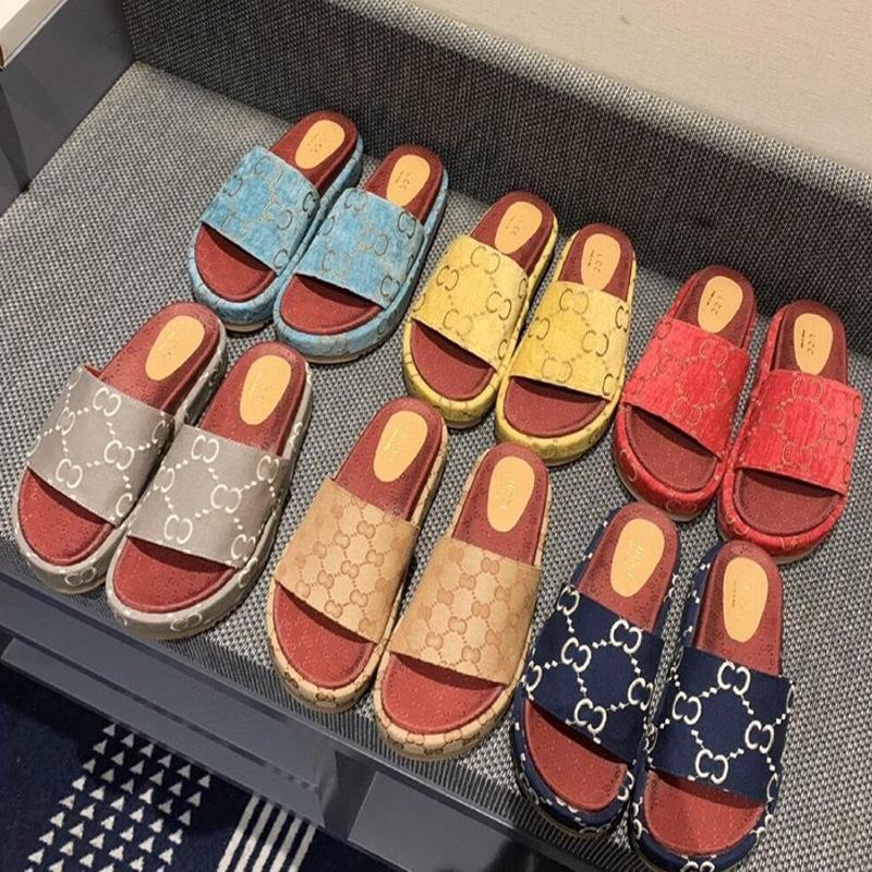Sandalias Slippers G Familia Slippers gruesos Slippers Red de mujer Ropa infrarroja 2021 Nuevo Muffin de verano versátiles