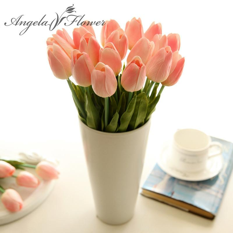 21PCS/LOT pu mini tulip real touch wedding artificial silk flower home decoration hotel party 210317
