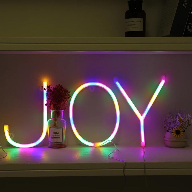 Gece Işıkları 1 ADET A-Z İngilizce Mektup Tasarım Neon Işık Yaratıcı LED Modelleme Lamba Dekor Pil Olmadan
