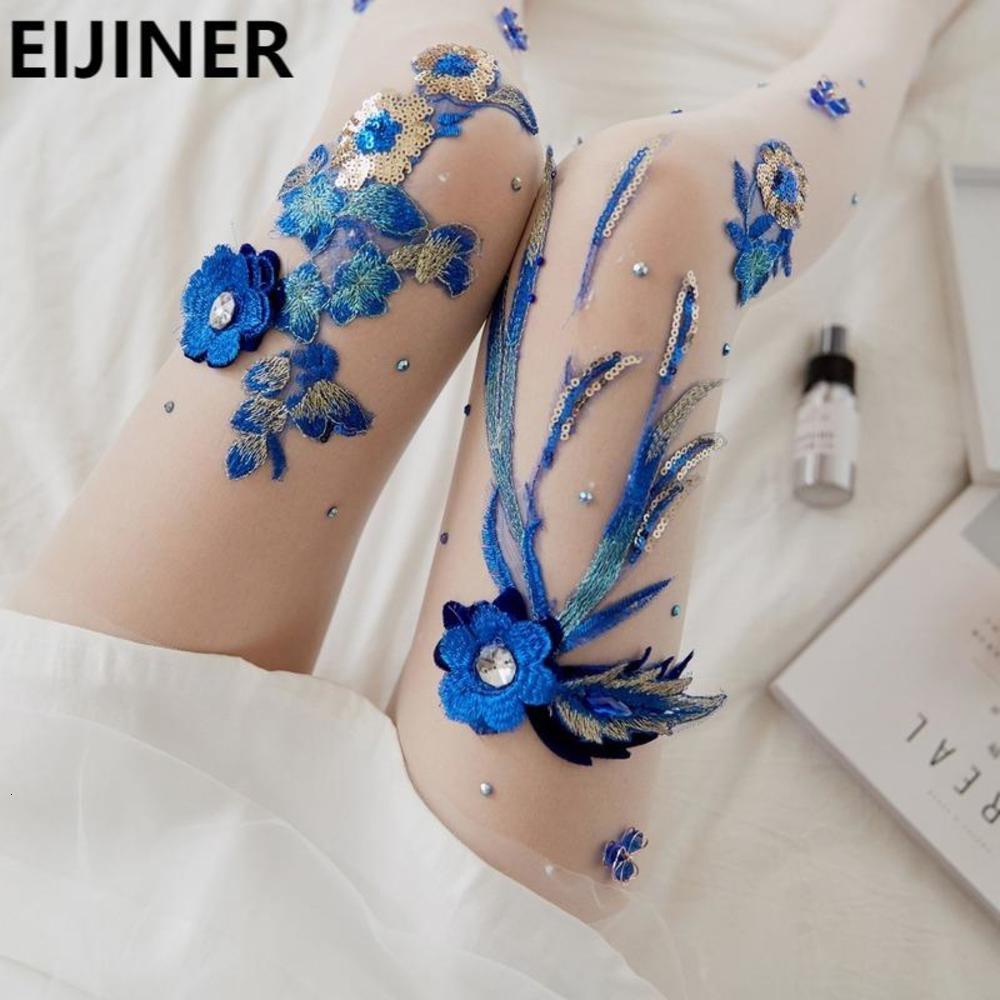 Sexy Body Designer чулки колготки женщины элегантные моды ручной вышивкой цветок синий волшебный клуб Party Club