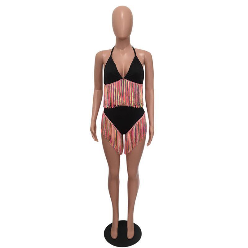 Two Pieces Maillots de bain Été Désactivé 2pcs Baignade Cuisson Mesure Maillots de bain Mode Femmes Bikinis Sexy Tassel coloré