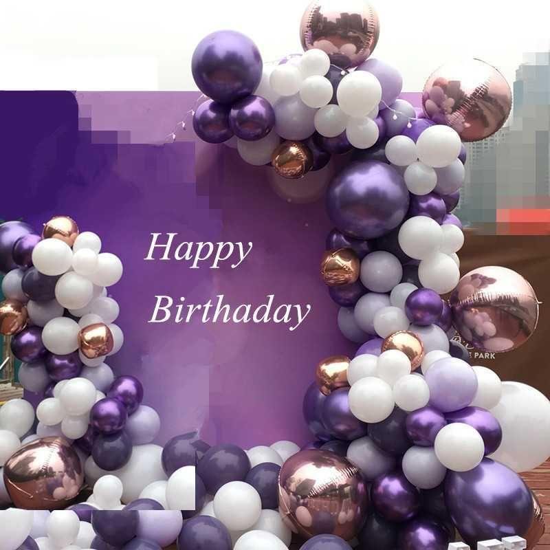 Violet Set Confetti Latex Ballons Star Heart 4D Mariage Feuille De Mariage Ballons Accessoires Fournitures Joyeux anniversaire Décorations Décorations Enfants Décoration