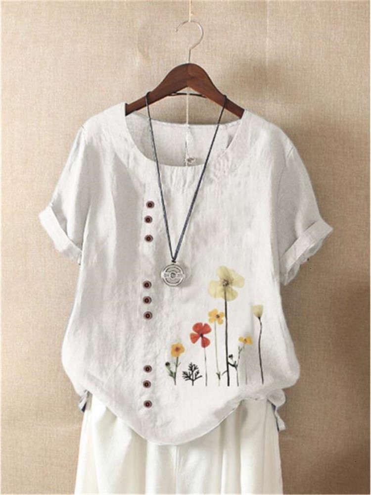 2021 summer pattern button Pullover women's short sleeve printed T-shirt