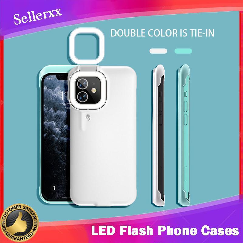 iPhone 12 11 8 7 Plus XS XS 최대 XR Selfie Light iPhone 12 Pro Max 11 Pro Max 3 세대에 대한 LED 플래시 전화 케이스