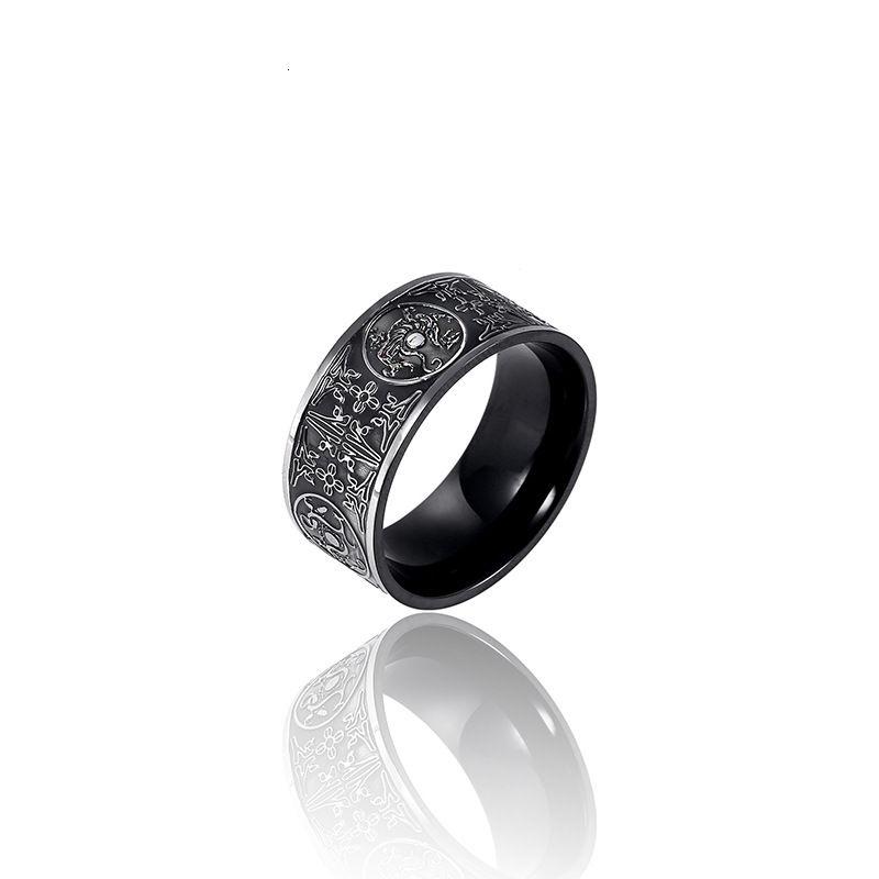Персонализированные ювелирные изделия Titanium Steel Four Beast Ring электрические черные узкие версия мужское кольцо моды