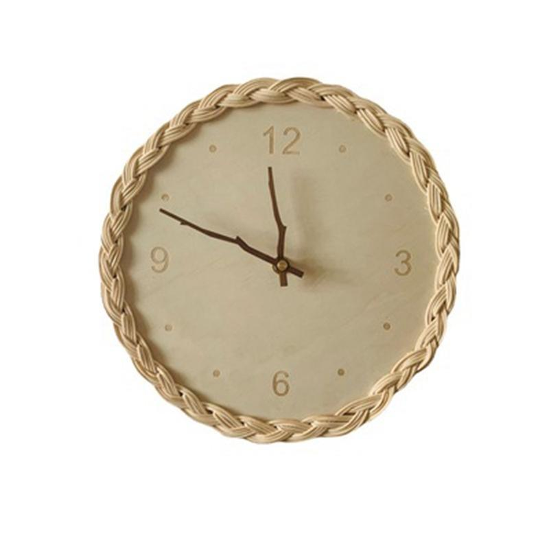 Wall Clocks Wooden Rattan Clock Modern Design Nordic Children Room Decoration Kitchen Art Hollow Watch Home Decor