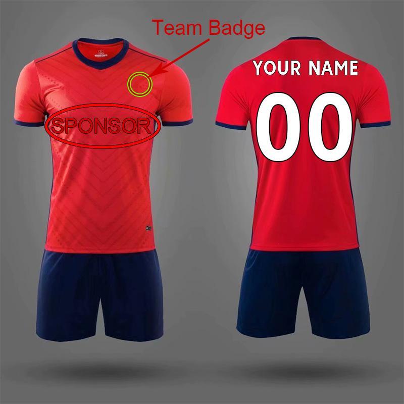 DIY futebol desgaste personalizado jersey equipe ordem própria logotipos camisas de futebol homens mulheres equipamentos de crianças 007