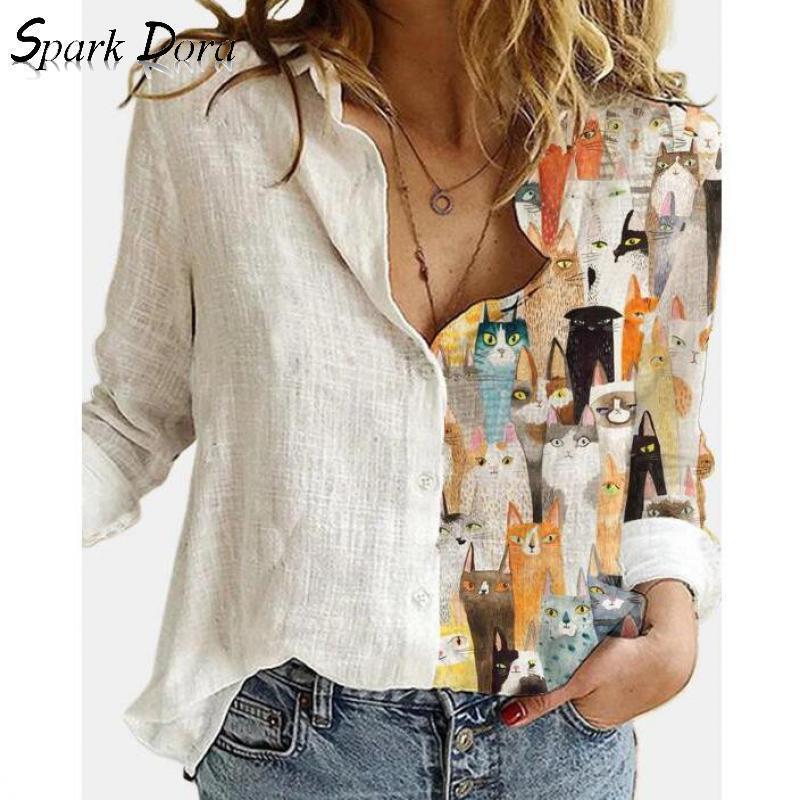 حر ربيع الصيف المرأة الأعلى الأزياء أبلى الترفيه الكرتون هريرة الطباعة طويلة الأكمام زائد حجم الراحة قميص الإناث 210513