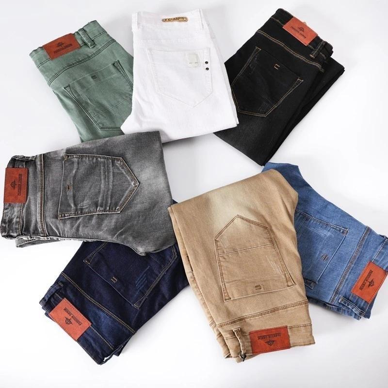 Casual Erkekler Pantolon Pamuk Ince Düz Kot Moda Iş Tasarım Renkli Erkek 7 Renkler