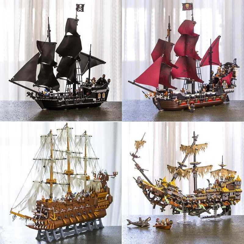 Stokta 16002 16006 16009 16016 16042 22001 Film Serisi Karayip Gemileri Korsanları Modelleri Oyuncaklar Yapı Taşları Tuğla 70618 Y200428