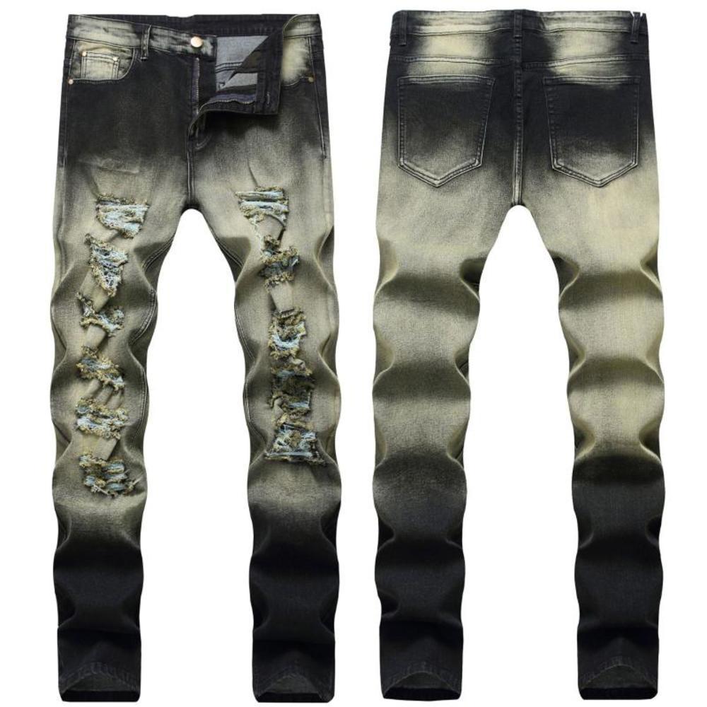 Men's Elastic Ripped Jeans Slim Men Trousers Casual Denim Pants Classic Cowboys Young Man Retro Jeans Trousers Double Color