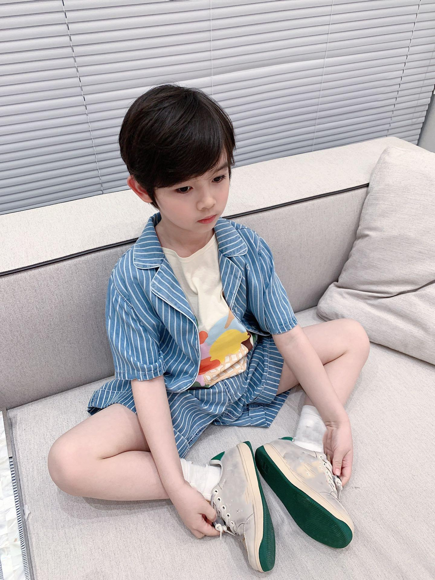 New Kids Boys girls Tracksuits 2021 Summer Cotton Shirts and Shorts 2 pcs/sest Baby suits Clothes