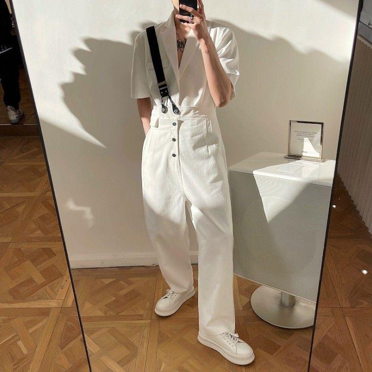 Japonya Kore Tarzı Pantolon Beyaz Tulum Kişilik Elastik Askılı Trend Gevşek Günlük Asimetrik Tasarım Pantolon Erkekler
