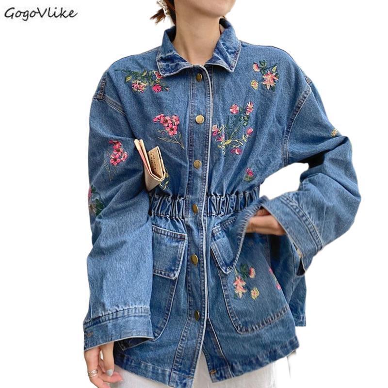 Fashon Floral Embroiedery Jeans Jaqueta Mulheres Slim Cintura Pockets Denim Casacos para Garota Gota Azul Mulheres Roupas LT758S50 Jackets