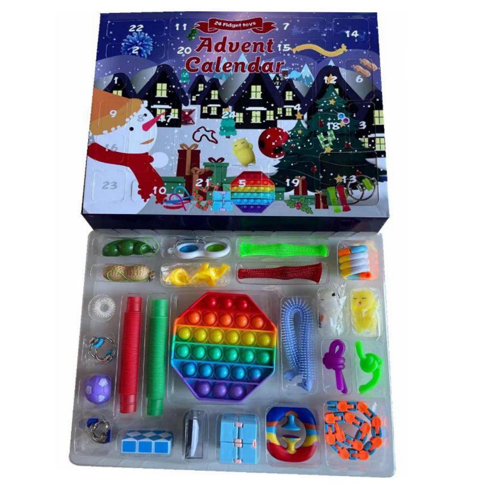 24 jours Fidget Toy Calendrier de l'Avent 24pcs / Set Compte à rebours de Noël Boîtes Boîtes Enfants Cadeaux Fête Favoris Sea Shipping OOA