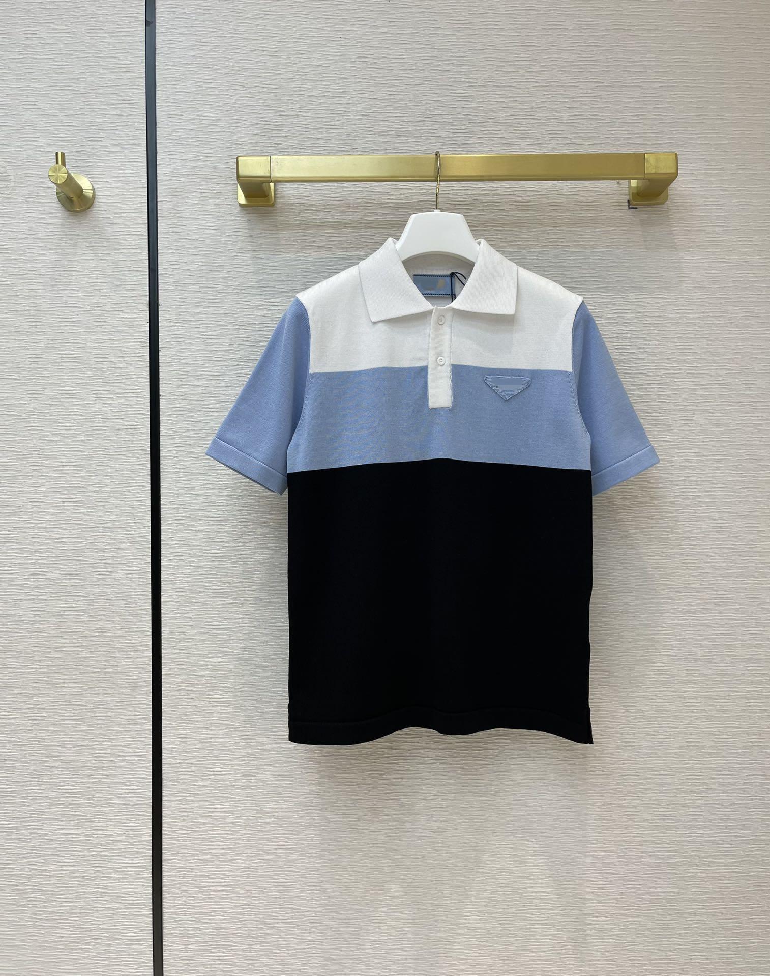 Milan Pist Kazak 2021 Kısa Kollu Lapple Boyun High End Jakarlı Kazaklar Kadın Tasarımcı T-Shirt 0319-3