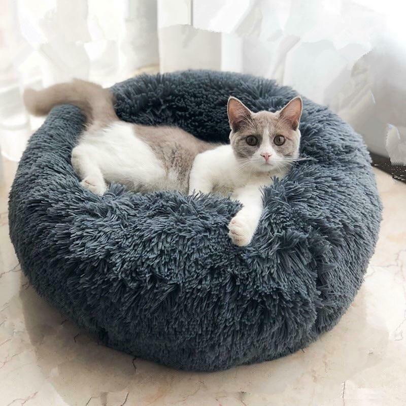 Пончик Форма кошка Дом плюшевые круглые спальные Глубокие собачьи кровать для маленьких собак Теплый мягкий Pet Tent Nest Litter щенок питомца пинделы ручки