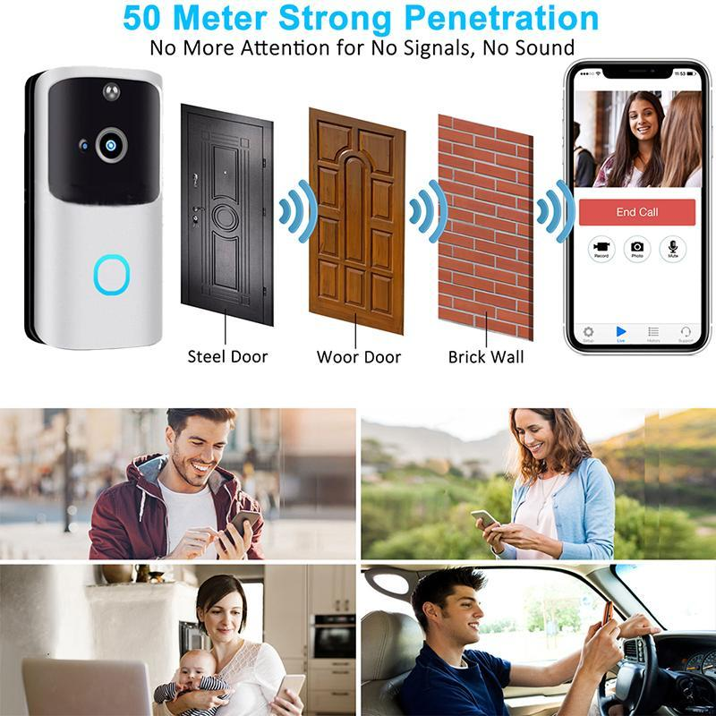 Smart Home Control M10 Security Door Bell Wifi Video wireless Video PIR BaseBell Talk HD Camera Benvenuto a due vie