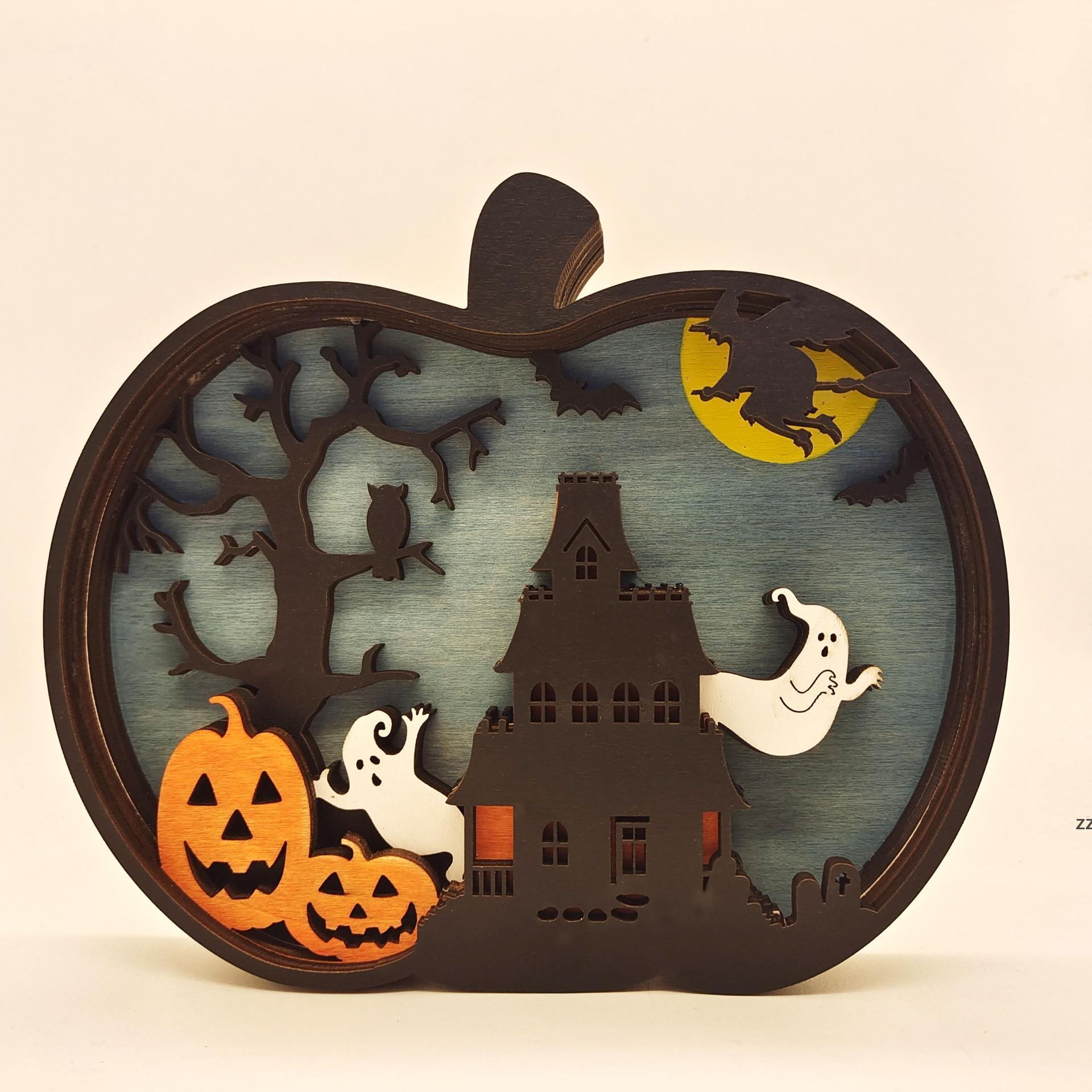 Decoración de Halloween Calabaza creativa Luz de talla de madera Patrón de calabaza Lámpara de calabaza Party Precs Decoraciones HWB10669