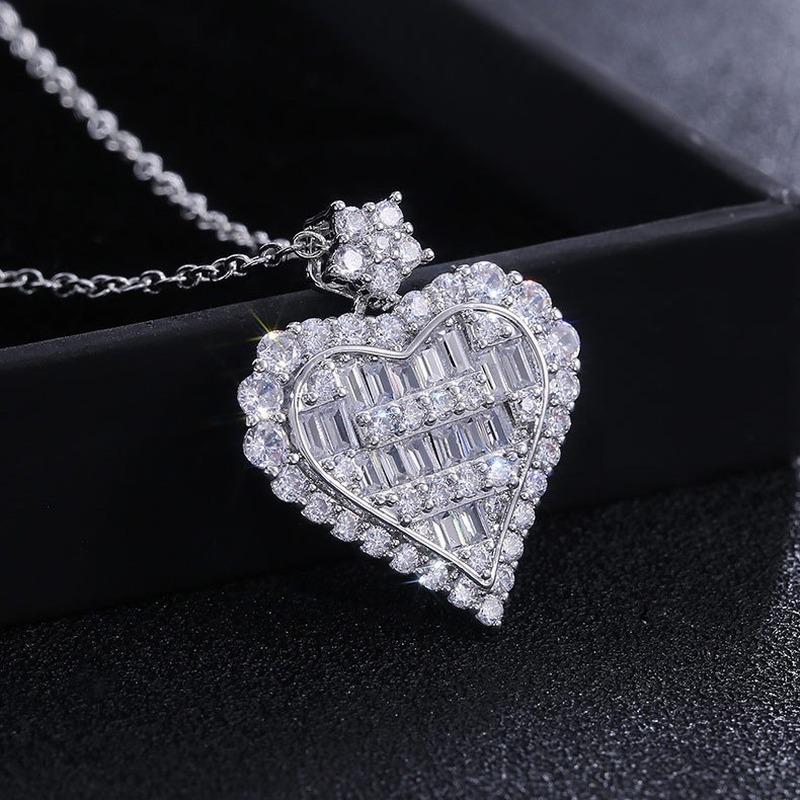 شكل قلب مكعب زركونيا سحر قلادة حزب مبهرة معلقة قلادة مجوهرات القلب قلادة المرأة