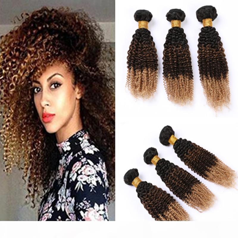 # 1b 4 27 27 Pacotes de cabelo humano ombre kinky encaracolado cabelo virgem weave extensões mel loira ombre brasileiro cabelo humano tons três tom