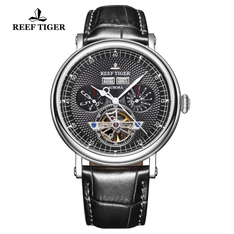 Reef Kaplan / RT Lüks Erkek Casual Saatler Perpetual Takvim İzle Turbillon Mekanik Su Geçirmez Heren Horloge RGA1903 Saatı