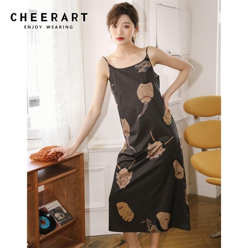 Chearart Ukiyoe esthétique Slip Dress Long Midi Robe Midi Femmes Vintage Sangle Spaghetti Demandes Robes Été Vêtements d'été pour femmes 210320
