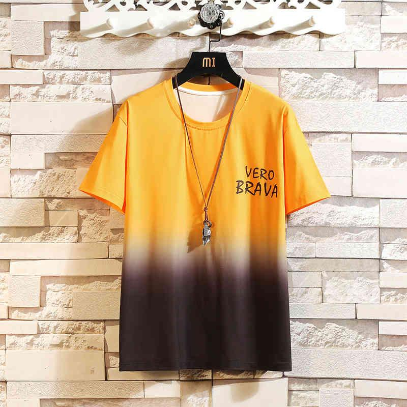 2021 Summer Youth Personalidad Gradient Hombres sueltos Cuello redondo Camiseta de manga corta DW951