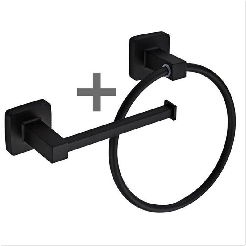 Square Bathroom Toilet Roll Holder & Towel Ring Set Stainless Steel Black Hanging Cost Rack With Screws Fittings Kit Rings