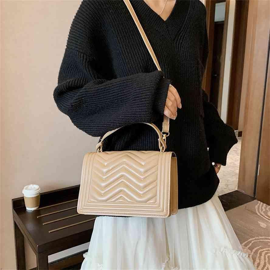 Textura pequena fragrância mulheres outono e inverno 2020 novo estilo coreano lazer saco quadrado rombo