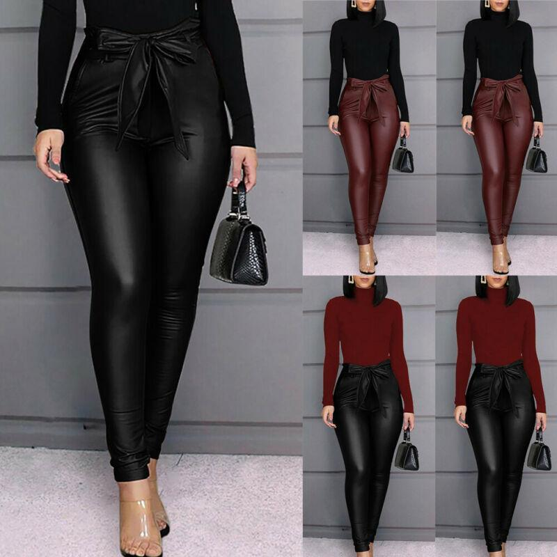 Women's Pants & Capris 2021 Leggings PU Leather Stretchy Skinny Pencil Trousers High Waisted