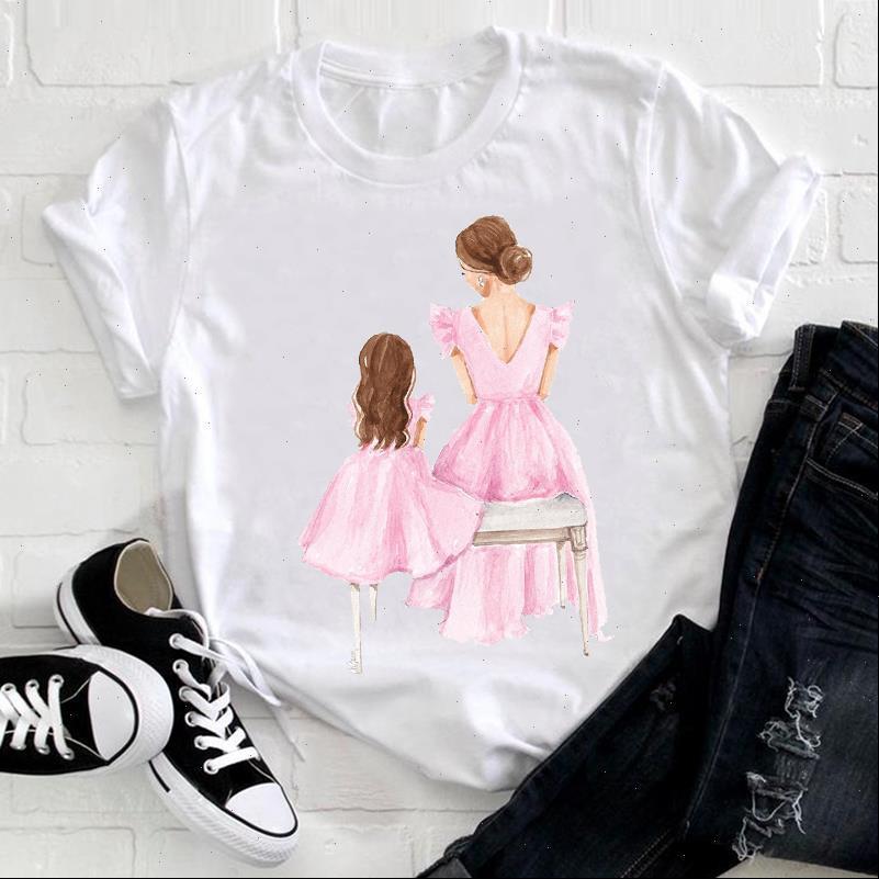 Frauen T Shirts Aquarell für Dame Mädchen Tochter 90er Jahre Mom Mama Mutter Mode Kleidung Damen Grafikdrucken T-top Tshirt