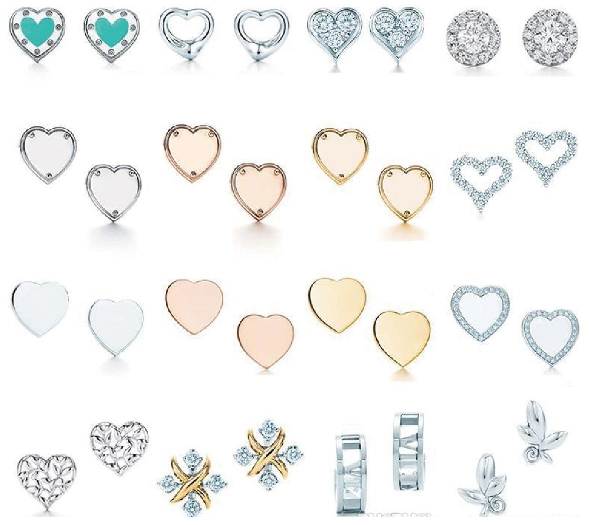 TIFF Klasik Orijinal Aşk Gülen Yüz Elmas Gümüş Saplama Küpe Orijinal Logo ile