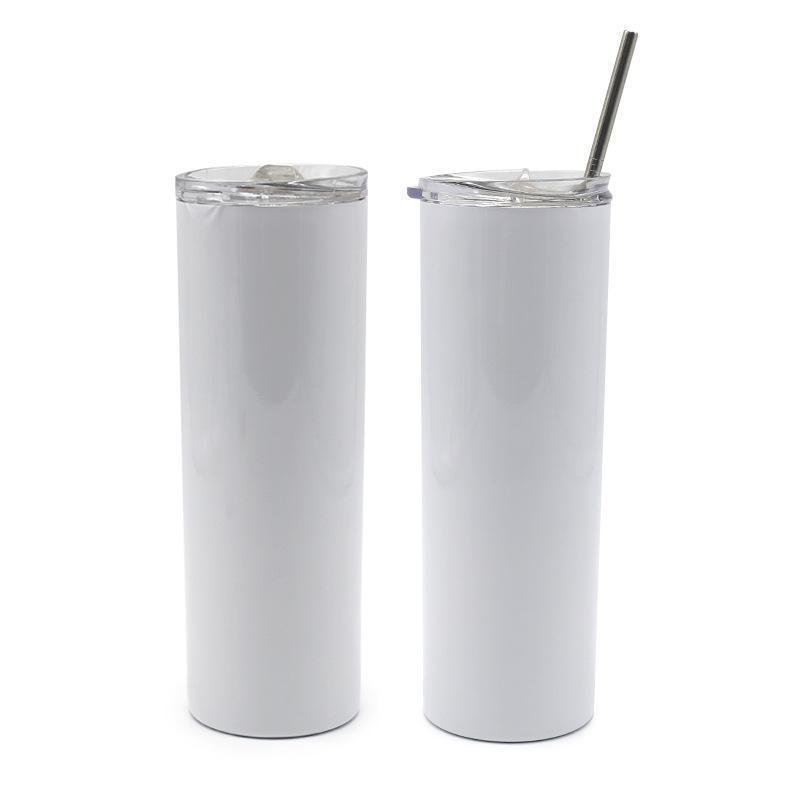 24 Hours Ship! 20oz Blank Sumblimation Tumbler Drinkware Straight Skinny Cups Heat Transfer DIY Bottle Tumblers DHL