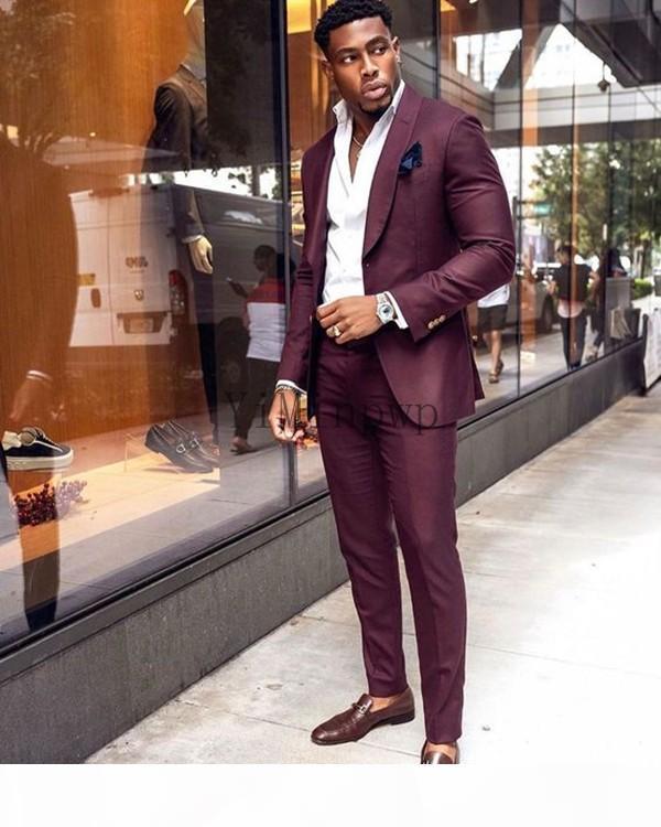 Burgundy Men Suits Shawl Lapel One Button Prom Suits Slim Fit Blazer Jacket Men Tuxedos Groom Wedding Suits 2 Piece Coat+Pant