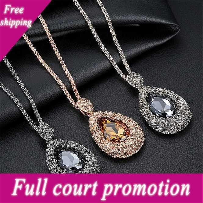 Conjunto de moda coreano diamante gota de água atmosférica camisola cadeia longa personalidade versátil simples outono e inverno colar mulheres