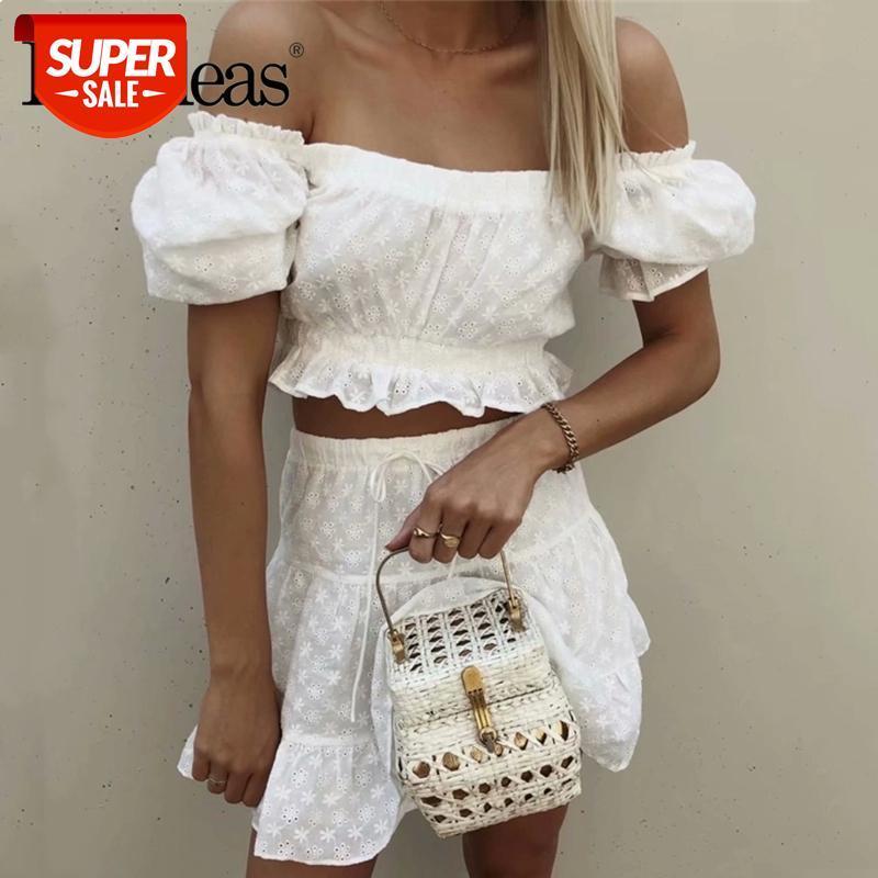 2021 Summer Harajuku brodé brodé culture vintage vestige et jupe chic blanche deux pièces fixée fashion arpaner femme costume # VU67