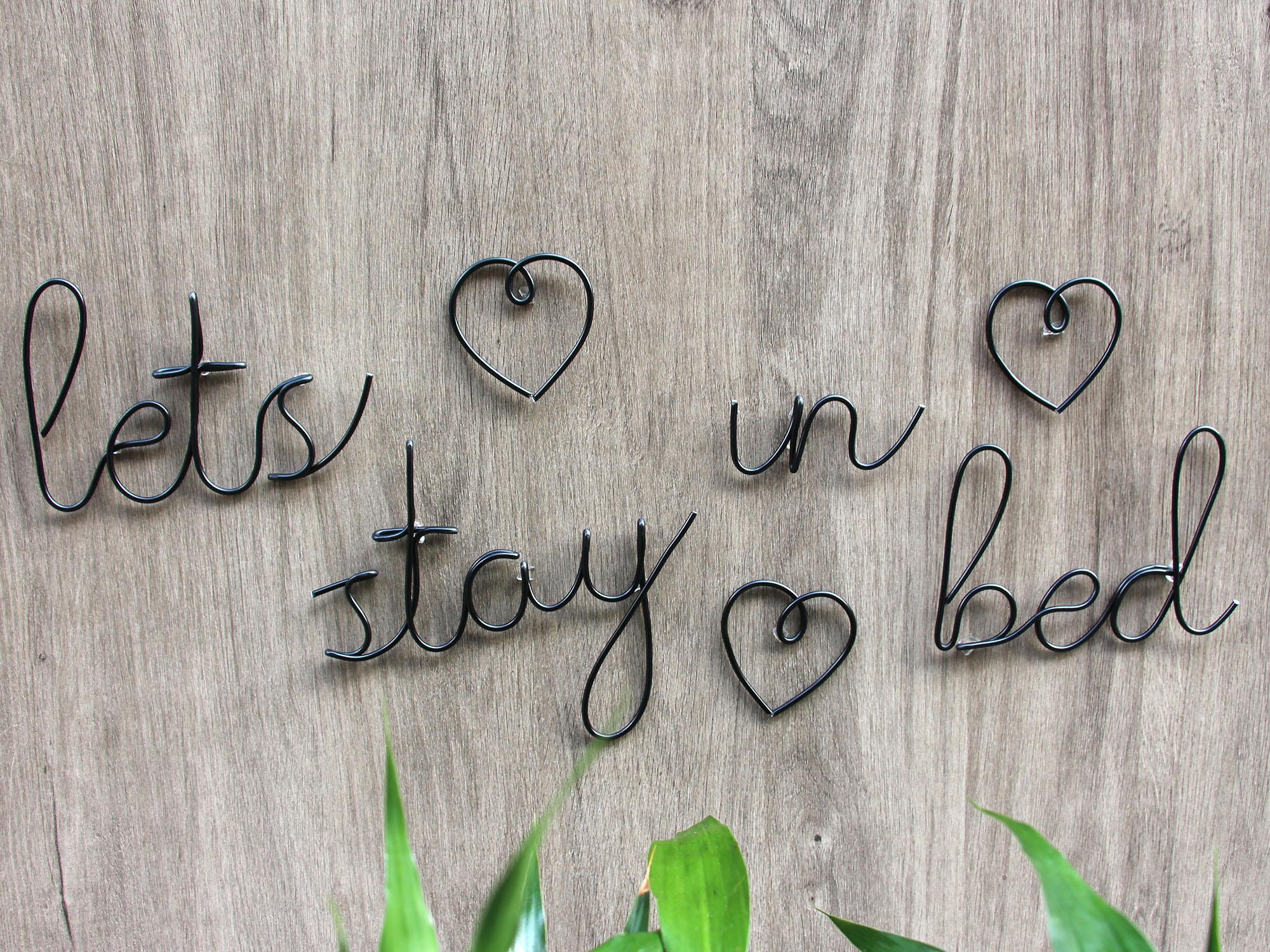 اسمحوا البقاء في سلك الأسلاك النصية الخط مخصص سلك جدار الفن الكلمات الديكورات اليدوية