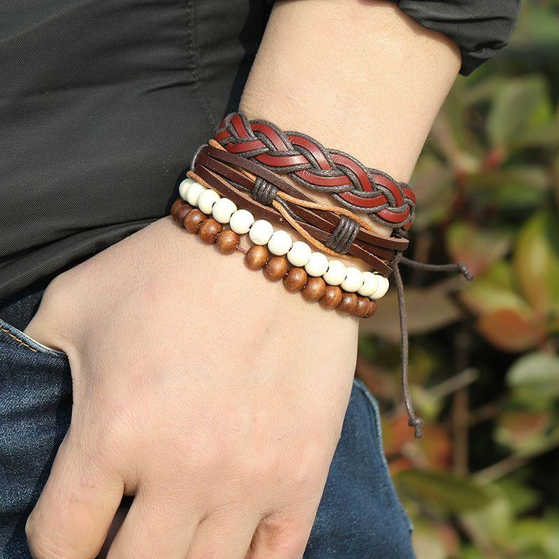 Bracelet en cuir personnalisé simple rétro Combinaison DIY Combinaison de bricolage 4 pièces Accessoires de bijoux pour hommes