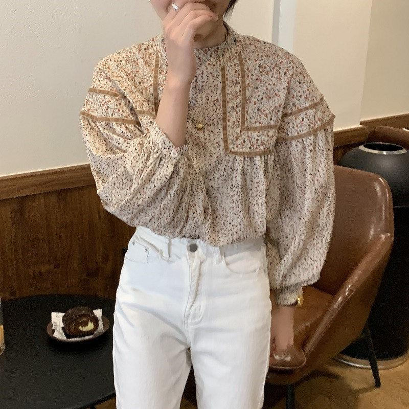 Korean chic retro foreign style Women's Blouses full screen floral stand collar stitching contrast loose Lantern Sleeve baby shirt blouse