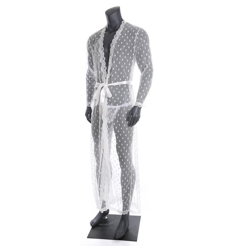 Mens Sleepwear Sexy Long Robe Transparente Spitze Strickjacke Bademantel Einteiliges Lungewear Nachtwäsche mit T-Back Gürtel Männer