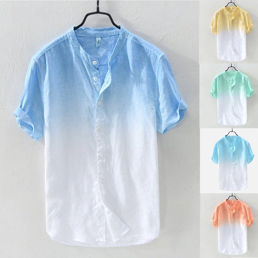 Европейская мода тонкий цифровой градиент печати с коротким рукавом рубашка для мужчин